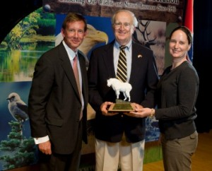 Foothills Land Conservancy receives TWF's Conservation Organization of the Year award. (Pictured left to right) Dan Hammond, TWF's Chairman of the Board; Ernie Blankenship, FLC Board Member; and Elise Eustace, FLC Communication & Development Director.
