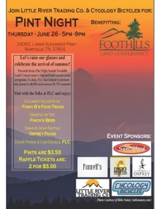 Flyer for LRTC & Cycology Pint Night