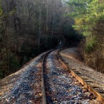 Another image of the old CSX railroad tracks crossing through FLC's conservation easement in Polk County, TN.