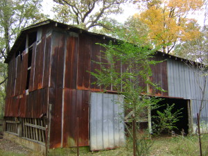 Former tobacco barn still stands on the property.