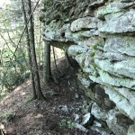 Image of a sandstone rock wall taken on the property.